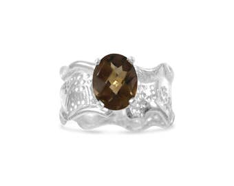 Oval Smoky Quartz Sterling Silver Ripple with Organic Textured Band Colored Gemstone Ring Size 6.5 - 8.75