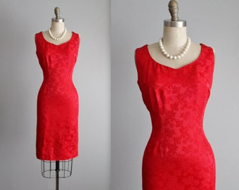60's Cocktail Dress // Vintage 1960's Red Rose Brocade Cocktail Party Holiday Dress