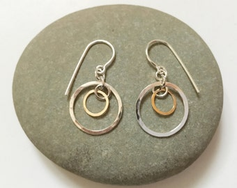 Gold and Silver Circle Earrings, Perpendicular Circles Earrings, 2 Tone Circle Earrings, Circle Dangle Earrings, Movement Earrings