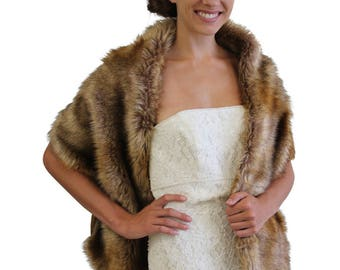 Bridal fur stole, Vintage brown stole faux fur, fur shrug, bridal shawl wrap fur, bridal stole, wedding stole, faux fur cape
