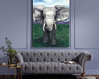Watercolor Painting - Elephant - Nature Wildlife Fine Art Print