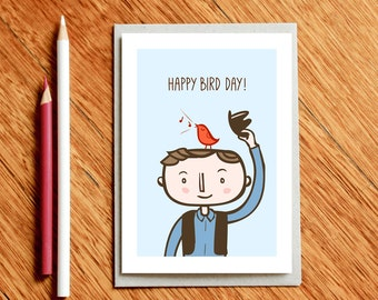 Birthday card, Happy Bird Day, Pun Card, Pun Birthday Card