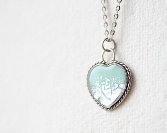 Mint Silver Foil Heart Necklace