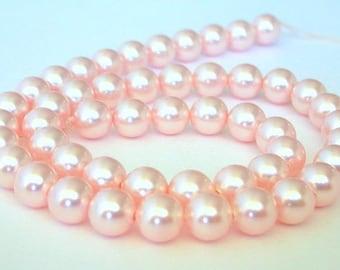 50 Swarovski rosaline pearls, 6mm pink crystal