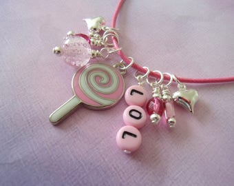 Girl Necklace, Lollipop, Glow in the Dark, Pink, LOL