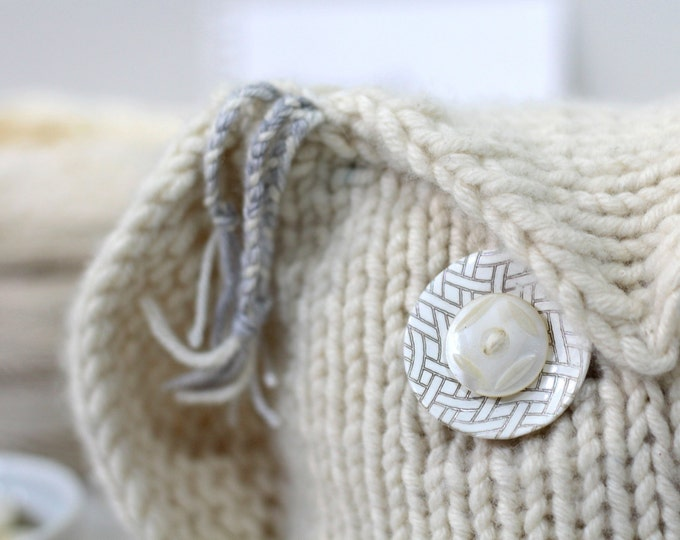 Cashmere Owl, Natural Creme, Handknit, Gift, Hand Knitted, wedding gift