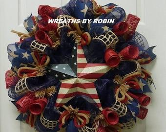 12% OFF RWB Rustic Wreaths, Patriotic Wreaths