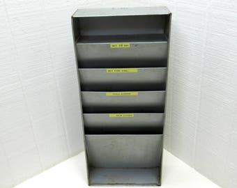 Vintage Lit-Ning Metal Letter Holder File Desk Organizer Wall Or Desk Top