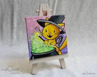 Mini acrylic cat painting with easel, Original art - orange cat fairy and her cauldron, Halloween art, acrylic painting, small painting