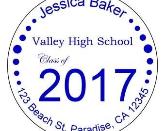 custom graduation stickers, personalized 2017 graduation labels, college grad stickers, high school graduation labels, 3 sizes available