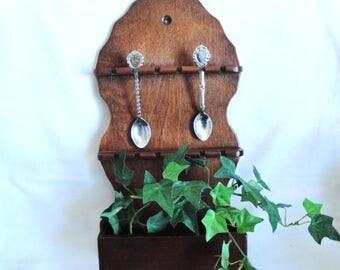 Spoon Rack Wood Holds 12 Souvenir Spoons + Cubby Vintage