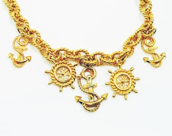 "Ann Klein Nautical Statement Necklace with Large Anchor Charms and Rope Textured Gold Tone Chain Link Toggle Clasp AK AKII 18"" in Length"
