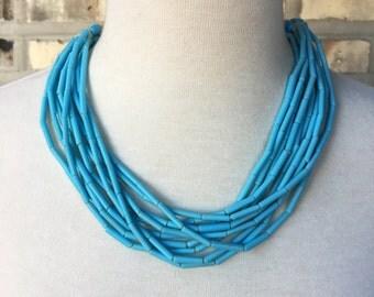 Turquoise beaded bib necklace