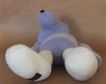 Teddy bear, hand knitted bear, purple, white