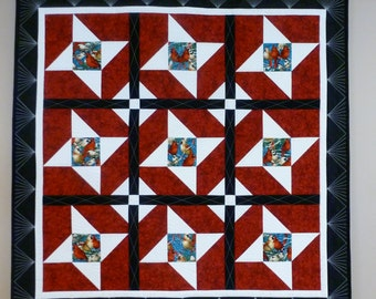 Friendly Birds Quilted Wallhanging or Lap Quilt