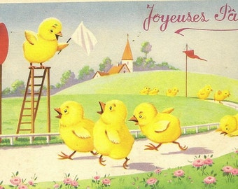 Chick Race - Vintage French Easter Postcard Joyeuses Paques – Funny Scene of the Last Lap of a Race Between Little Yellow Chicks