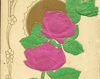 Hot Pink Silk Roses on Novelty Vintage Postcard – Lovely Floral Postcard Bearing Best Wishes 1928