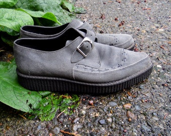 80s/90s Stormy Grey Suede Pointed Creepers Gothic Psychobilly Rockabilly Punk Grunge Oxford Shoes Mens 10 11