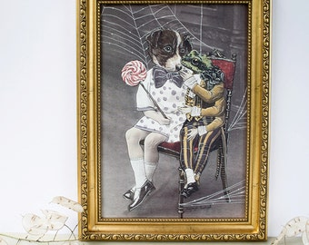 Little Miss Muffet nursery rhyme artwork print. Featuring Jack Russell puppy dog and spider frog in a suit. Gothic art. Strange and unusual