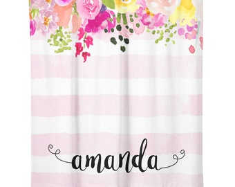 Personalized Shower Curtain-Watercolor Flowers-Monograms-Flower Shower Curtain-Bathroom Accessories