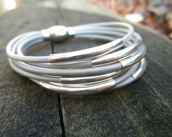 Multi-Strand Metallic Platinum Leather Cuff Bracelet with Silver Tube Beads