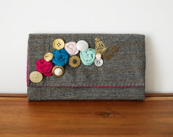 Grey Wool Trifold Clutch Wallet with Buttons and Rosettes