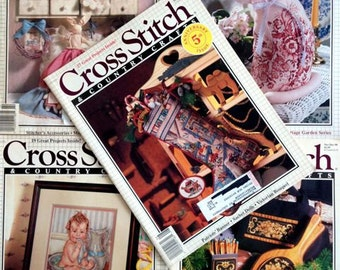 Vintage – Cross Stitch & Country Crafts - Cross Stitch Pattern Magazines – Set of 5