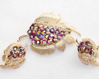Vintage Coro Pegasus Light Siam AB and Crystal Rhinestone Gold-Tone Brooch and Earring Demi