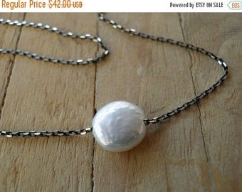 CHRISTMAS SALE Tiny Coin Pearl Pendant Necklace, Black Sterling Silver Necklace, Minimalist Pendant, Unique, Delicate, June Birthstone, Gift