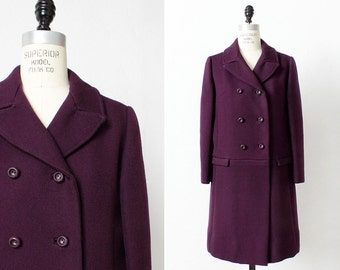 60s Mod Wool Coat M • Purple Coat • Double Breasted Coat • Wool Coat • 60s Coat • Winter Jacket • Princess Coat • Winter Coat | O345
