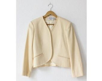 Wool Cropped Jacket S/M • 70s Jacket • Vintage Jacket • Wool Jacket • White Jacket • Wool Cardigan Union Made | O258