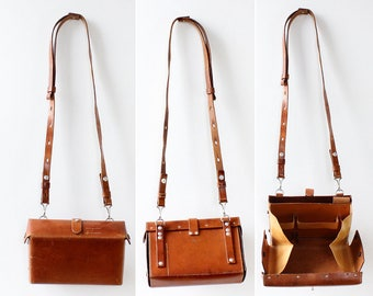 Swiss Medic Bag • 60s Purse • Swiss Army Bag • Brown Leather Crossbody Bag • Swiss Army Leather Crossbody Purse • Belt Bag | B733