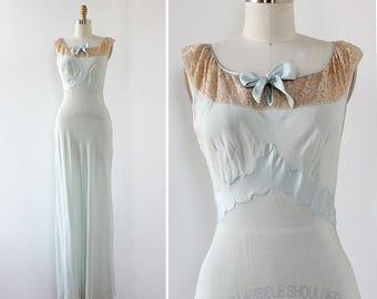 Elizabeth Arden Silk Slip Dress XS • 40s Dress • Vintage Slip Dress • Lace Slip Dress • Silk Maxi Dress • Blue Silk Dress | D987