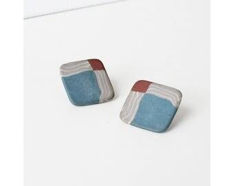 Ceramic Earrings • 80s Earrings • Square Stud Earrings • Modernist Earrings • Geometric Earrings • Statement Earrings • Square Earring  E246