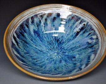 Blue Swirl Pottery Salad Bowl Ceramic Bowl Blue Green Serving Bowl BA