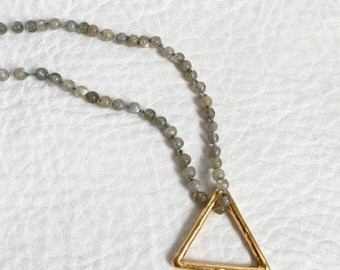 Gold Plated Triangle Midi Ring Pendant Sterling Silver 14k Gold Coated Triangle Jewelry