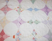 """Lovely Faded """"Hummingbird"""" Vintage Quilt Piece with Dense Quilting Including Flowers — 23 x 22 Inches"""