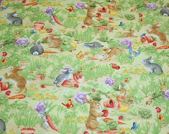 """Lovable Little Bunnies in the Garden New OOP Cotton Fabric - """"Somebunny's Garden"""" by Wilmington - 2 Yards"""