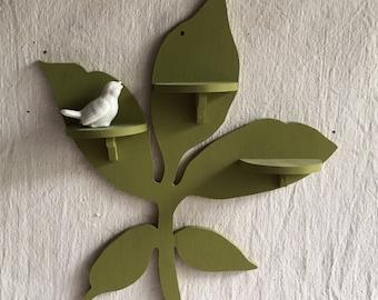Vintage wood shelf  petite plant shaped shelf  leaf shelf  green shelf