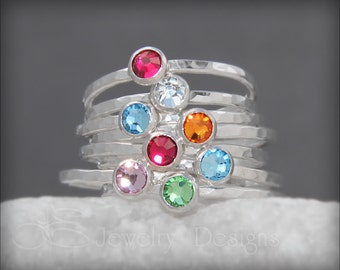 SILVER BIRTHSTONE STACKING ring - ready to ship - various sizes