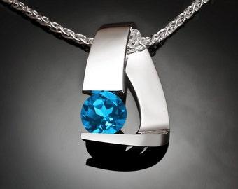 blue topaz necklace, Swiss blue topaz, silver pendant, statement necklace, December birthstone, artisan necklace, Argentium silver - 3422
