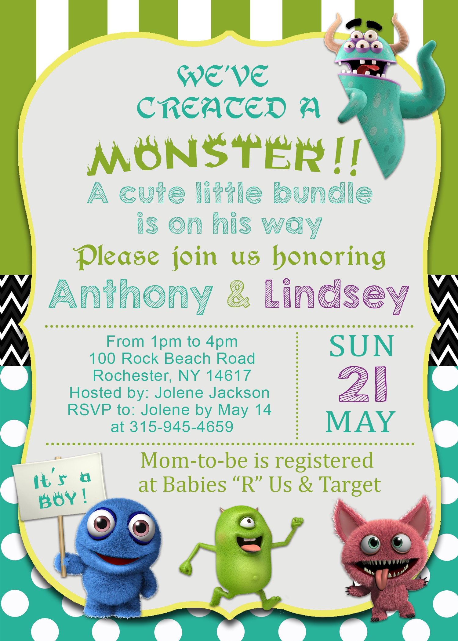 Monsters Inc. Inspired Baby Boy Shower Invitation, Green & Teal ...