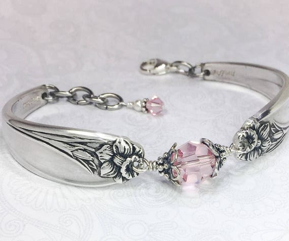 Silver Spoon Bracelet, Light Pink Crystals, White Pearl, Spoon Jewelry, 'Daffodil' 1950, Customizable Spring Bracelet