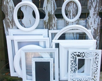 Set of 13 Shabby Chic Ornate Bright White Picture Frames for Gallery Wall, Wedding Decor, Nursery Decor