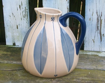 Tender Heart StoneWare Pitcher Blue and Beige with Floral Design Kitchen Decor Rustic Decor