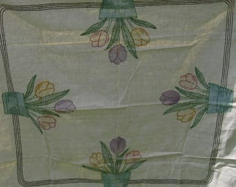 linen hand embroidered tablecloth tulips 40 inches rustic cottage country farmhouse rustic wedding