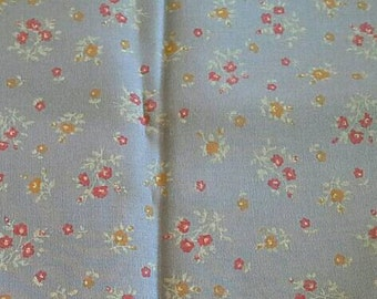 Small Floral Calico Print on Blue Cotton Polyester Blend Fabric 1 1/2 Yards  X0731