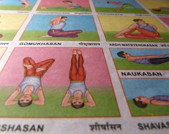 YOGA Vintage Retro Indian School Poster - YOGASAN CHART - Old Print from India