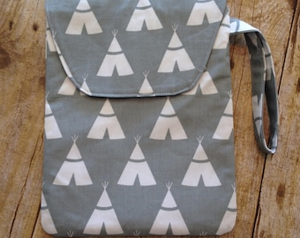 Diaper Pouch - Grey Tepee Fabric - diaper clutch with wrist strap