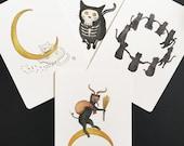 Set of four Kitty Art Prints